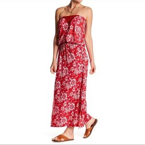 TIARE HAWAII Red Indigo Strapless Maxi Dress